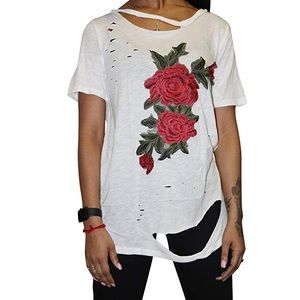 Tops - Super distressed oversized rose tee